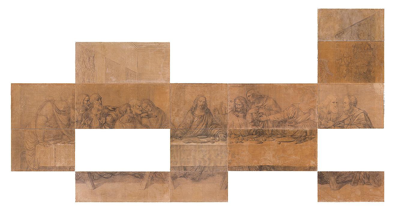 Quadro d'insieme dei cartoni per la vetrata dell'Ultima Cena