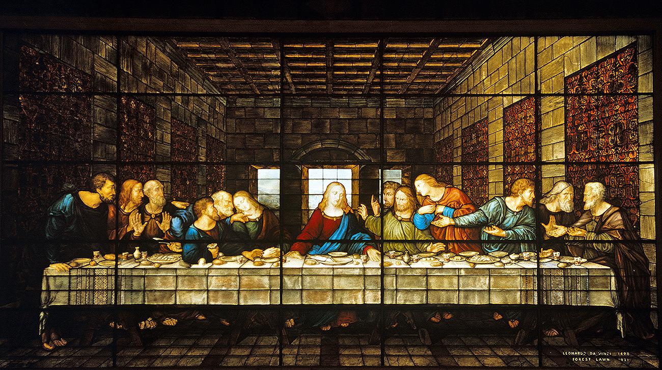 Ultima Cena di Leonardo da Vinci: interpretazione su vetro a opera di Rosa e Cecilia Caselli